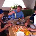guests preparing sushi